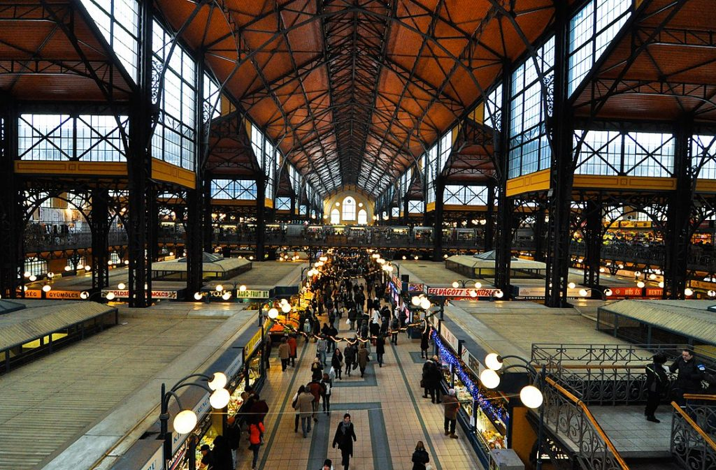 interior of Great Market Hall in Budapest