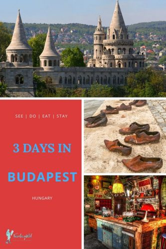 "Pin with text that says ""See, do, eat, stay, 3 Days in Budapest, Hungary"