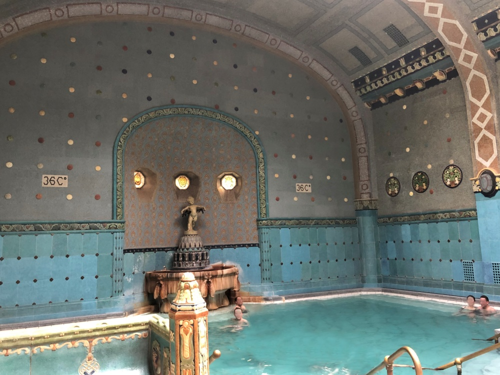 ornately tiled thermal bath in Budapest