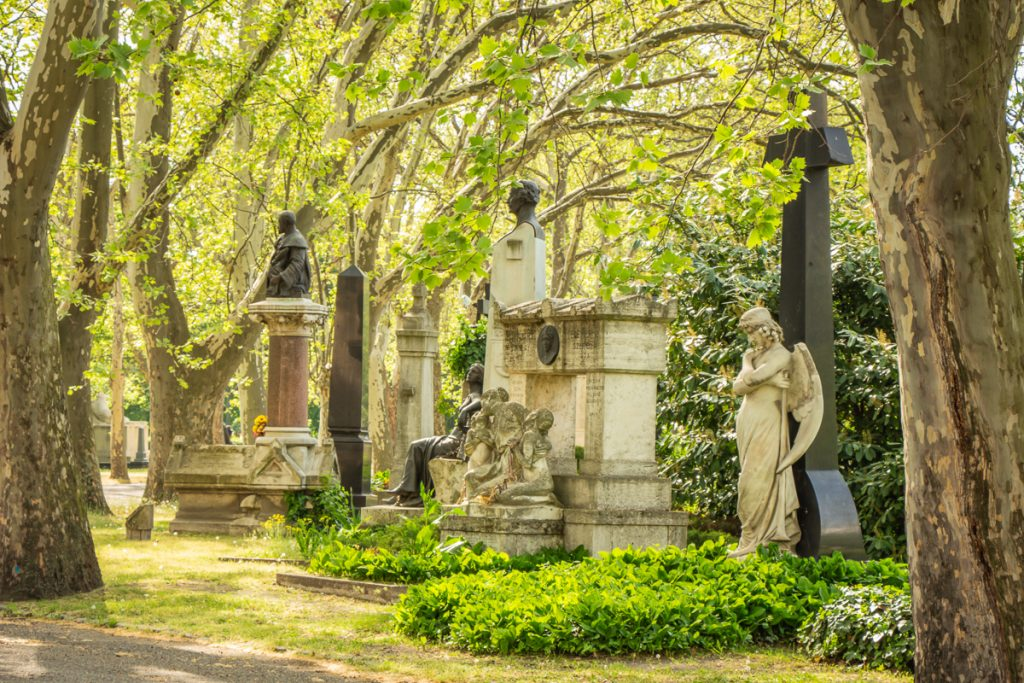 marble memorials in Kerepesi Cemetery Budapest