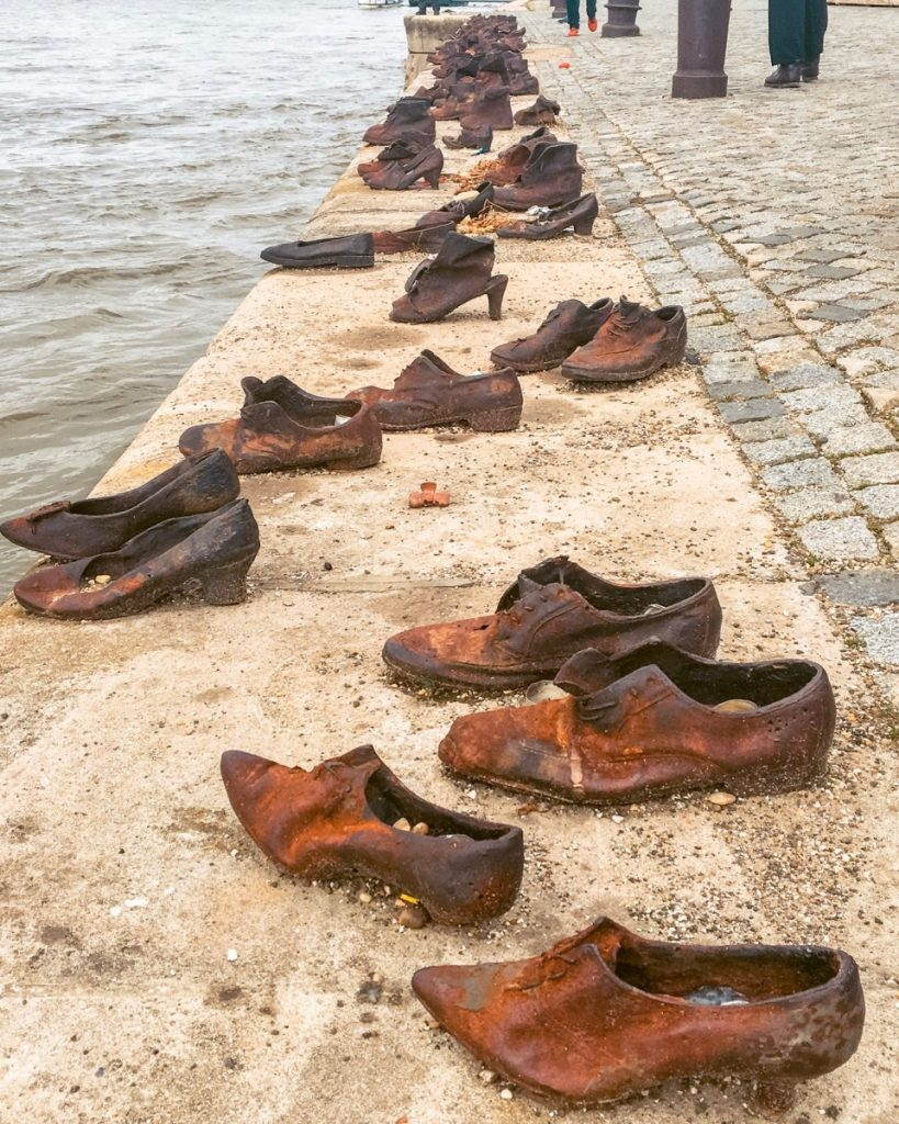 Shoe Danube Memorial- metal shoe sculptures