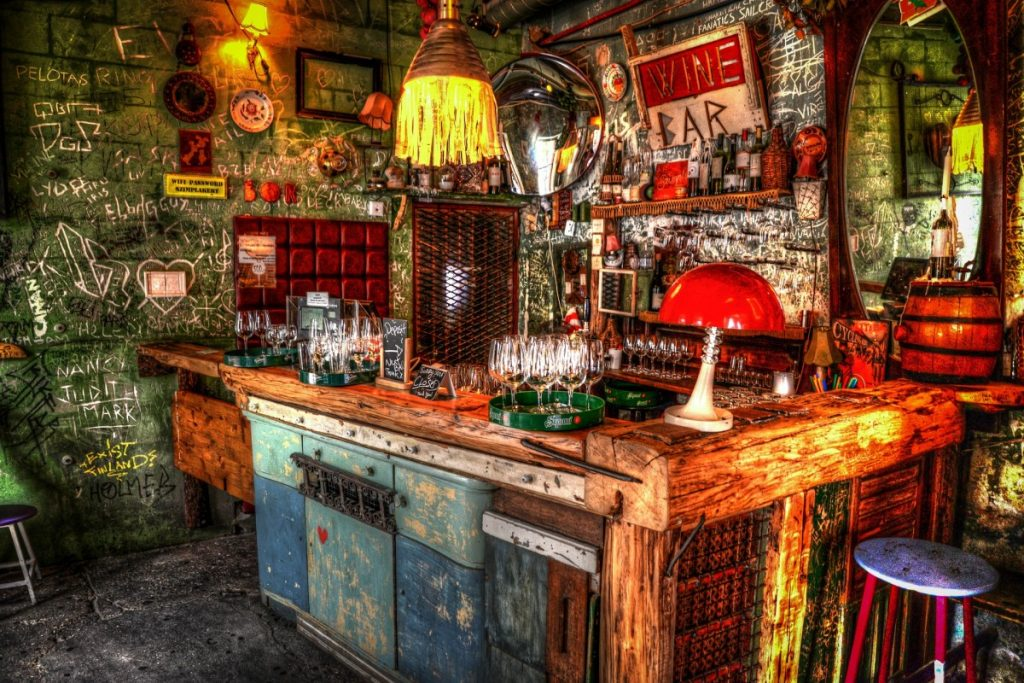colorful interior of ruin bar in Budapest