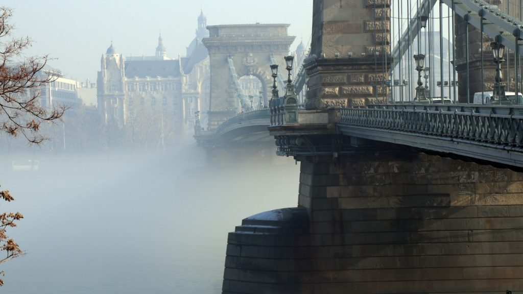 Chain Bridge in the fog, Budapest Hungary