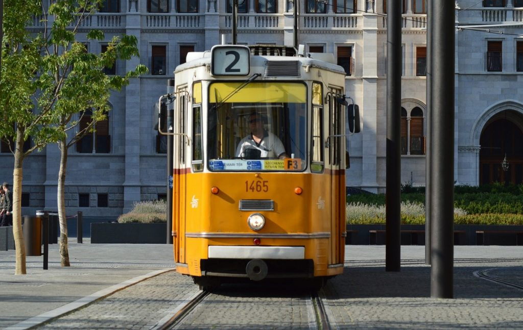 Yellow Trolly in Budapest Hungary