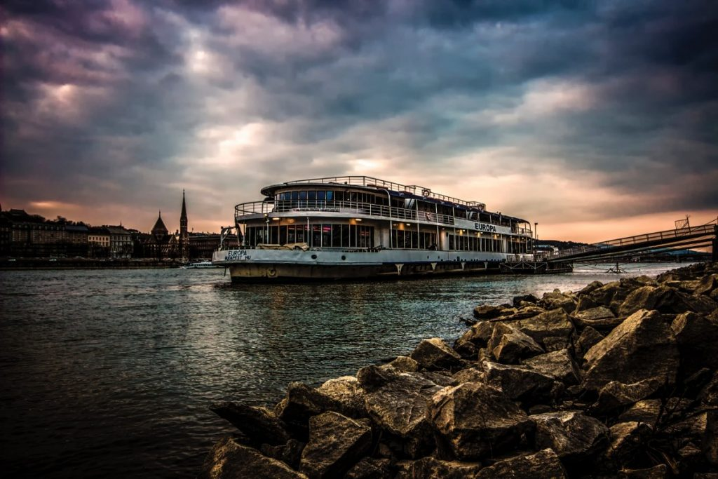Boat Tour on Danube River with clouds
