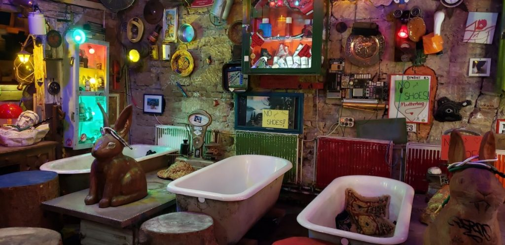 bathtubs and other paraphernalia in Szimpla Kert ruin bar in Budapest