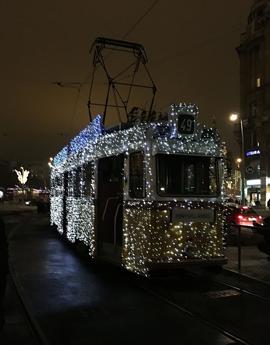 Budapest Christmas Tram with thousands of lights