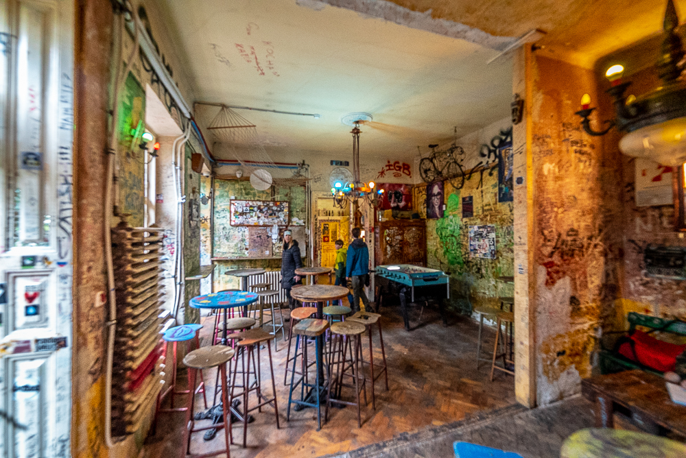 colorful interior of a ruin bar in Budapest
