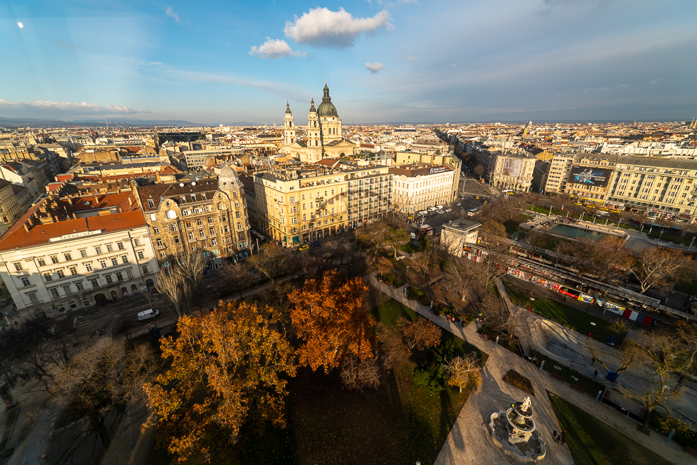 aerial view of buildings and park in Budapest