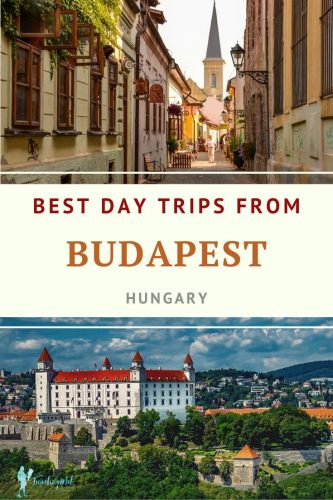 "cobble stone road and castle with text reading,"" best day trips from Budapest, Hungary"""