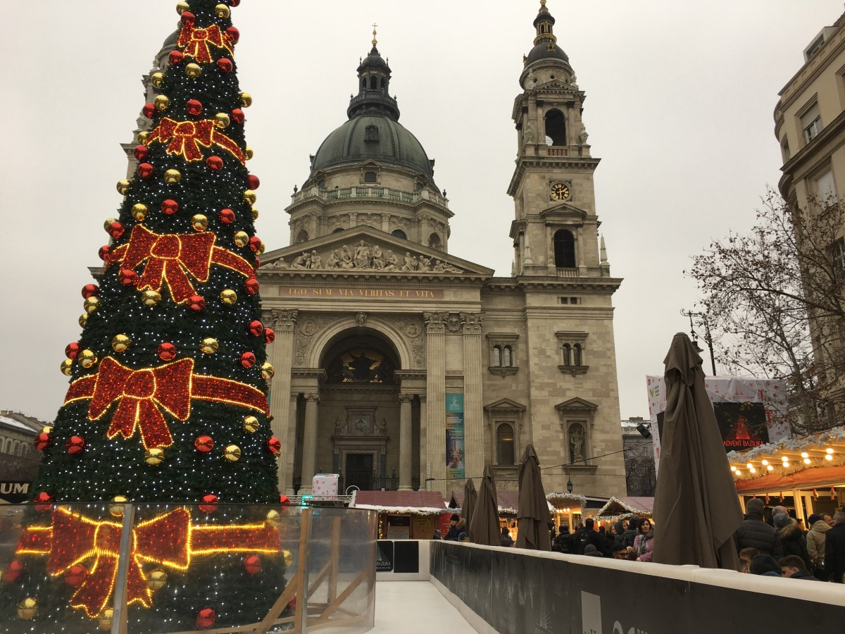 Church in Hungary with Christmas tree in front