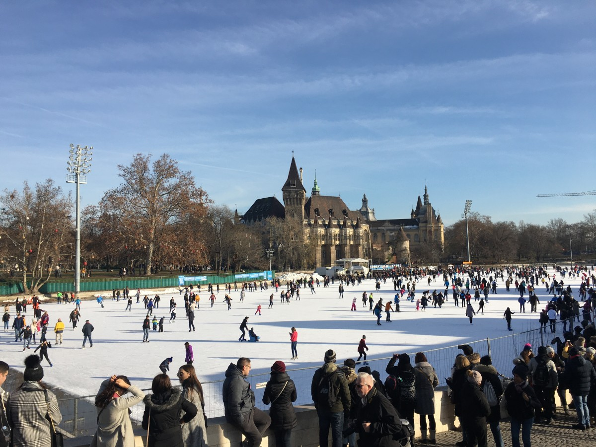 lots of ice skaters at City Park in Budapest