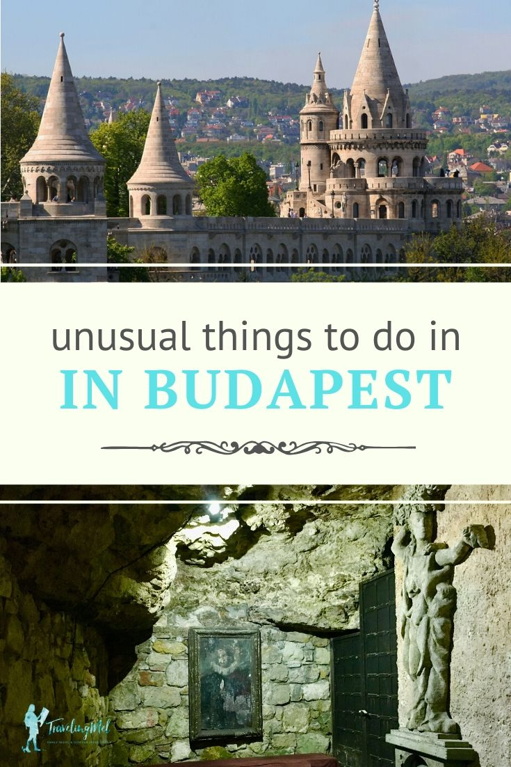 Picture of a castle and a monument to Dracula with text: unusual things to do in Budapest