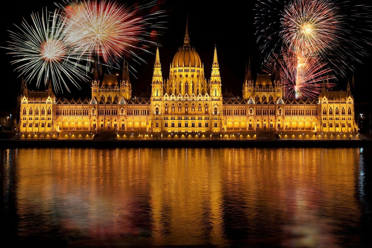 Budapest Pariliament with fireworks for new years eve