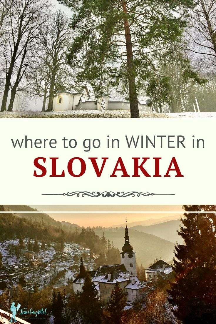 "picture of a church in the trees and a church in the mountains with text ""where to go in winter in Slovakia"""