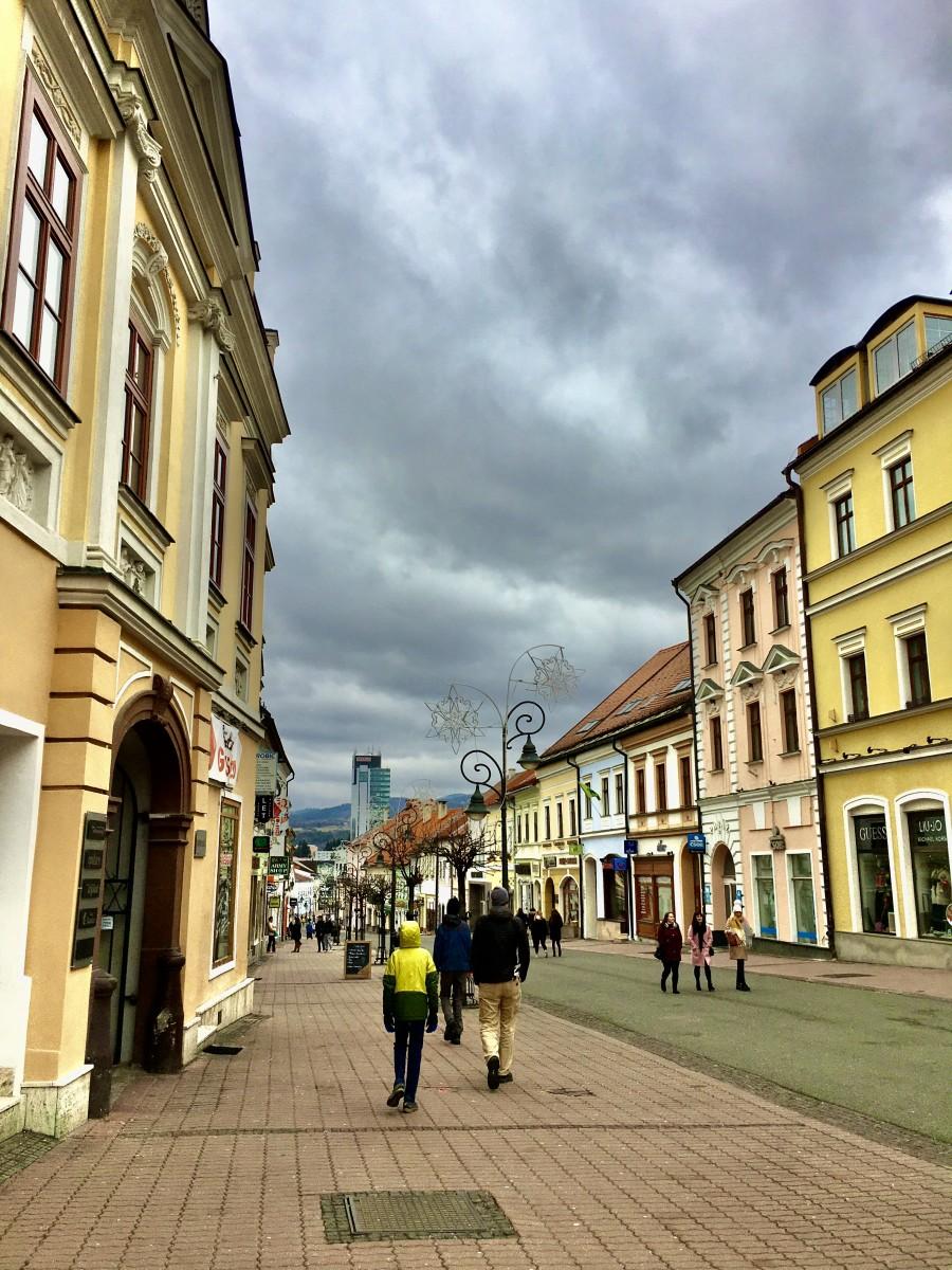 narrow street in Banska Bystrica Slovakia