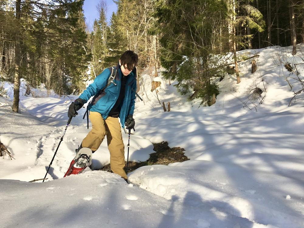 teenager snowshoeing in Slovakia