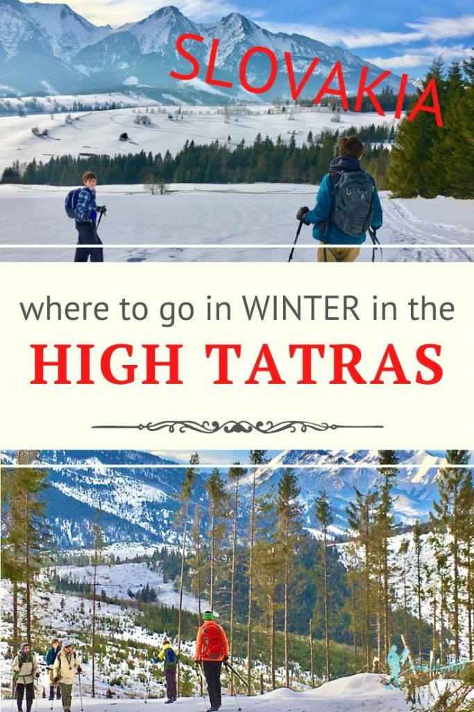 "people skiing and mountains with text ""where to go in winter in the High Tatras, Slovakia"""