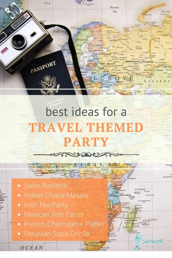 "Map, camera, and passport overlaid with the text ""best ideas for a travel themed party?"