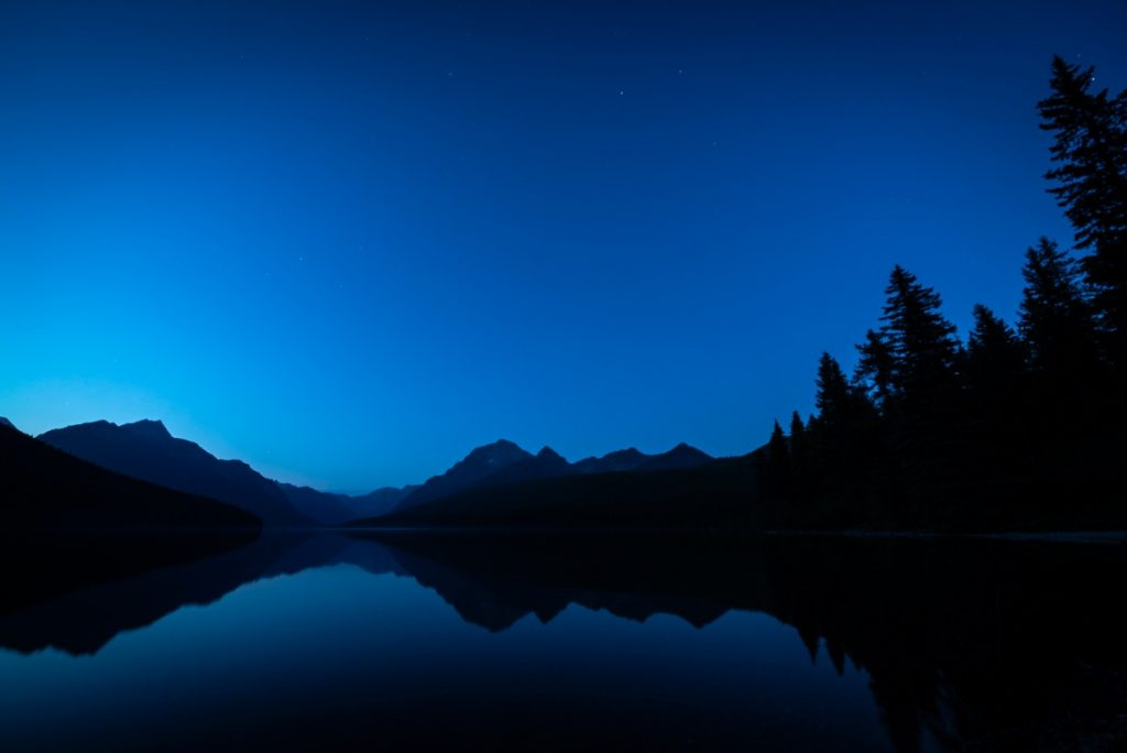 mountains in Glacier National Park at night