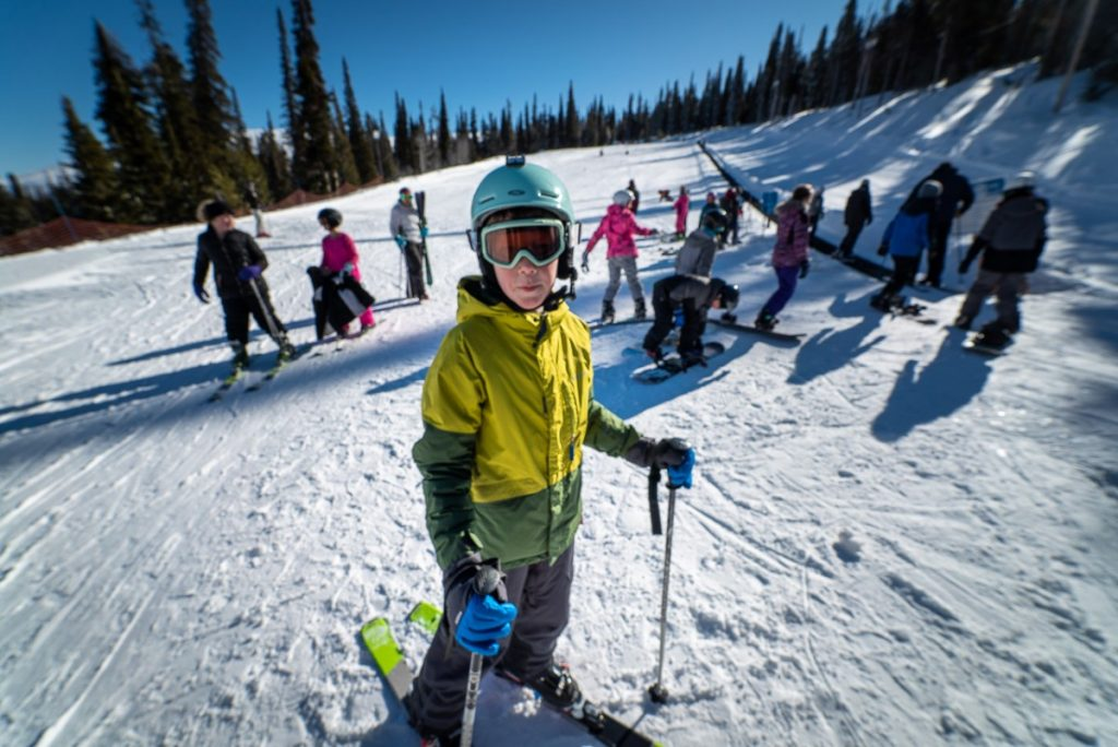 learning to ski at Pomerlle in Idaho