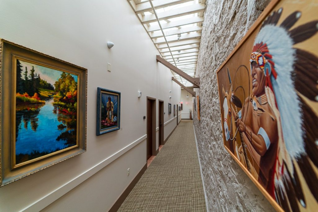 hallway in Great Falls with Montana with western art