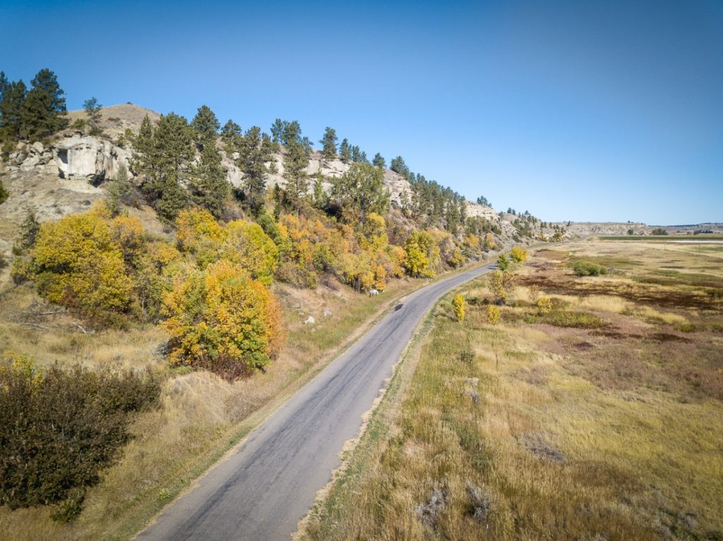 aerial view of Montana backroads with fall colors