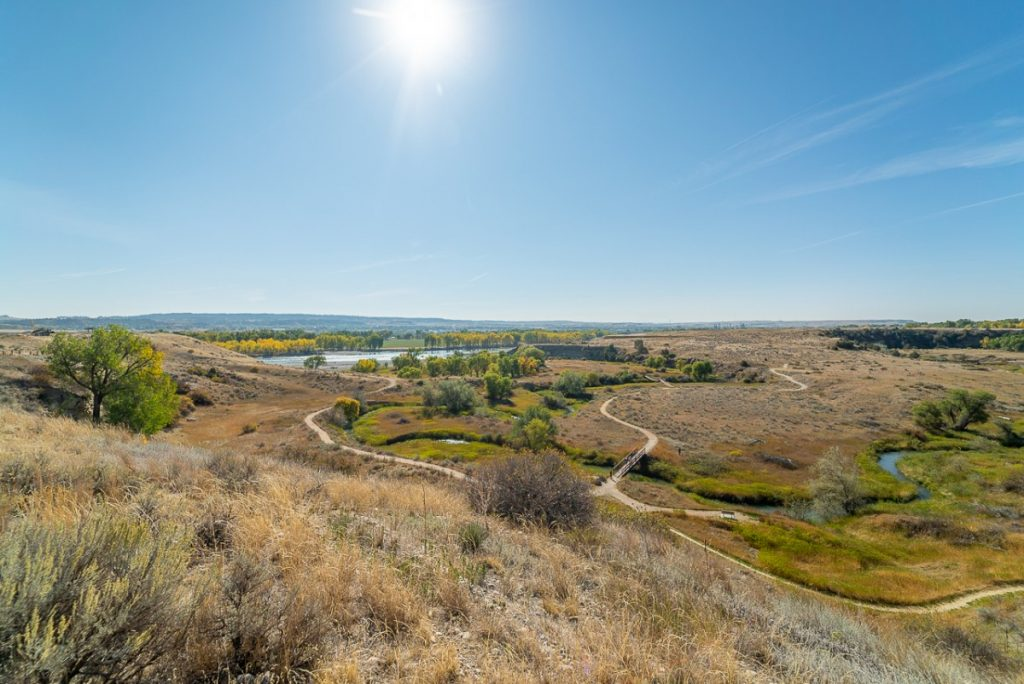 View of Yellowstone River and prairie from Dover Park in Billings Mt
