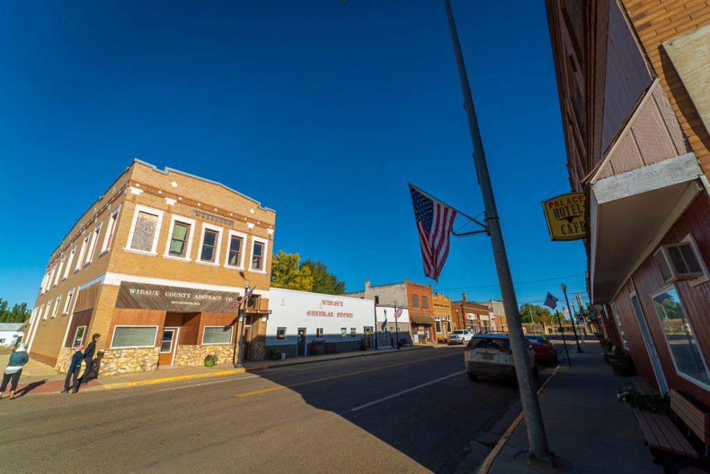 Main street in Wibaux small town montana