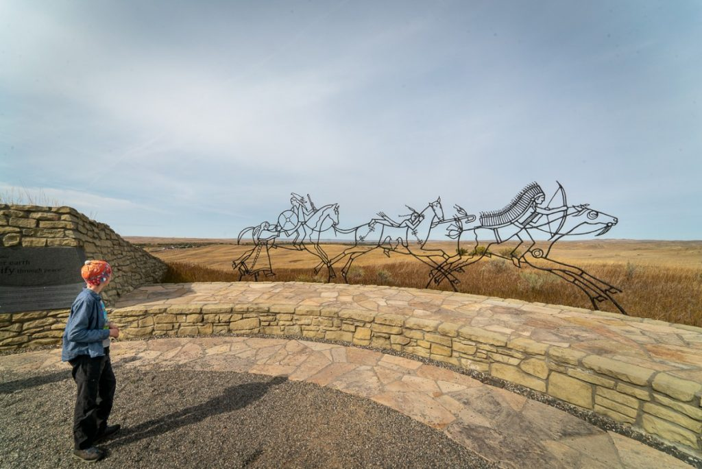 Indian Memorial sculpture of spirit warriors at battle of little bighorn national battlefield