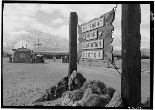 Entrance sign to Manzanar Relocation Center