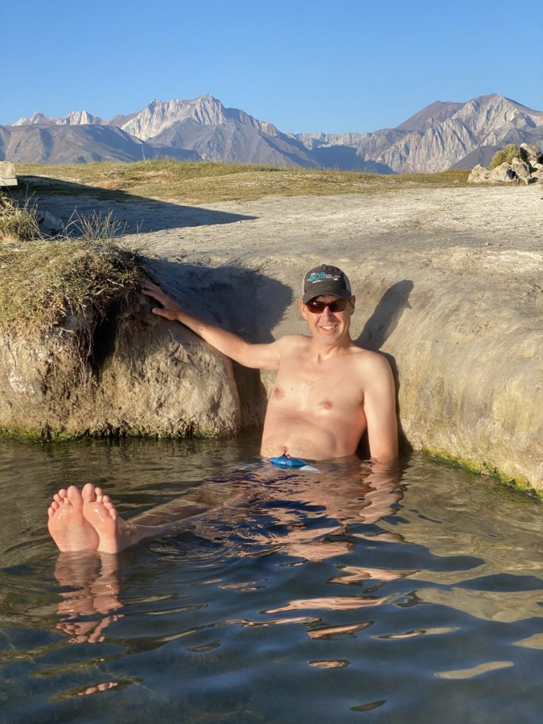 man in hot springs called Wild Willy's near Mammoth