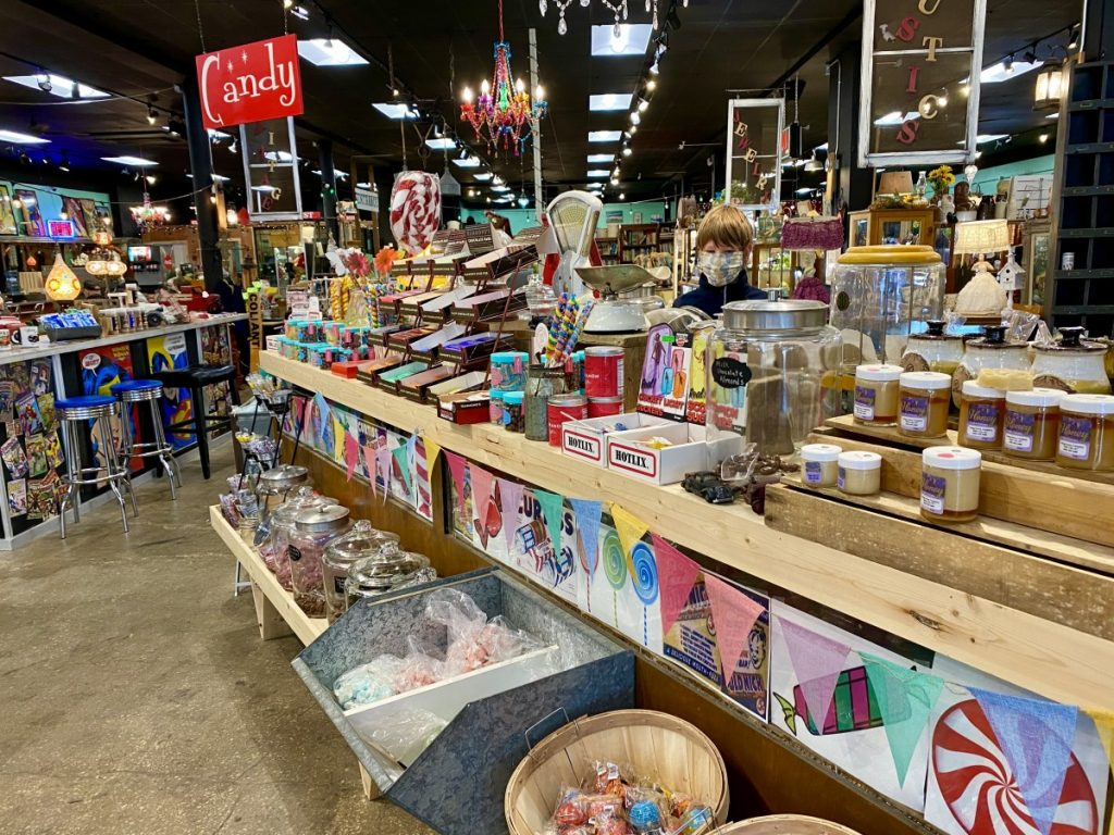 candy display in Miles City antique mall