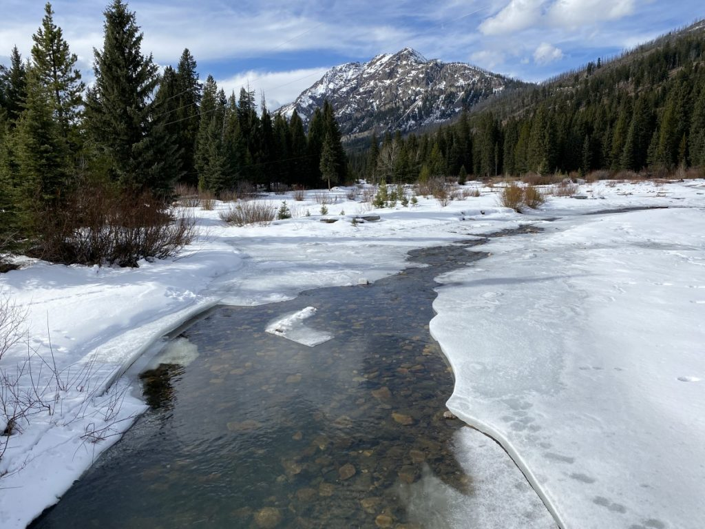 soda butte creek in cooke city with ice and snow