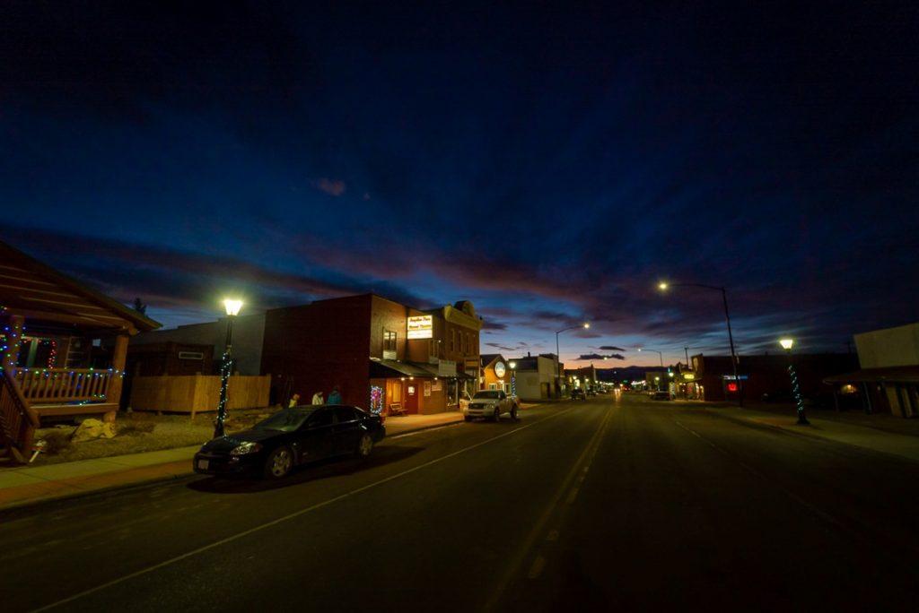 downtown White Sulphur Springs at night