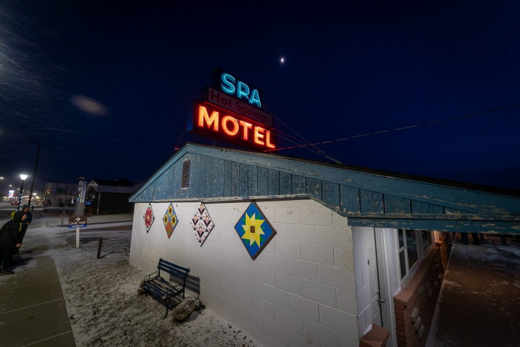 neon lights of the Spa Motel in White Sulphur Springs