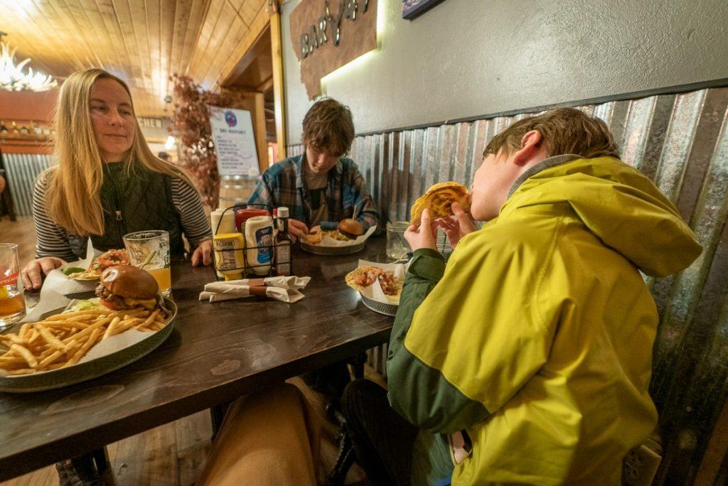 family eating in a restaurant in White Sulphur Springs Montana