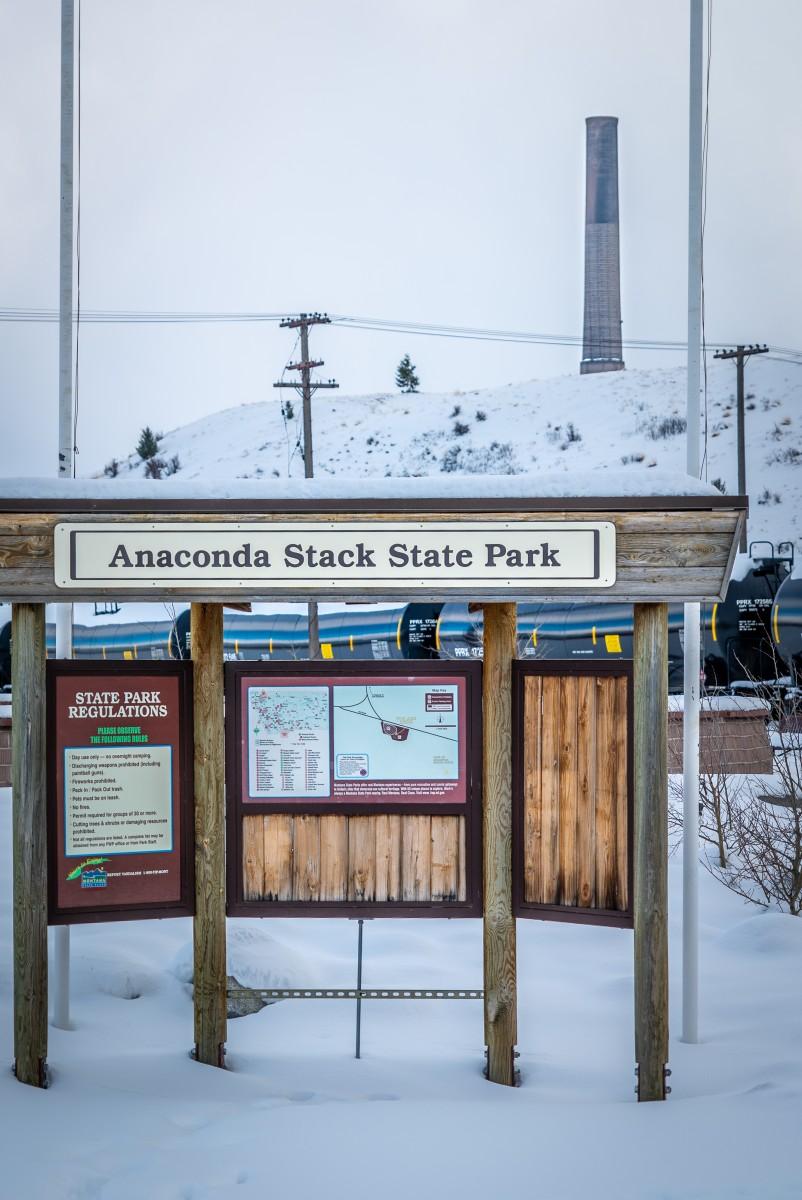 Sign for Anaconda Smoke Stack Montana State Park