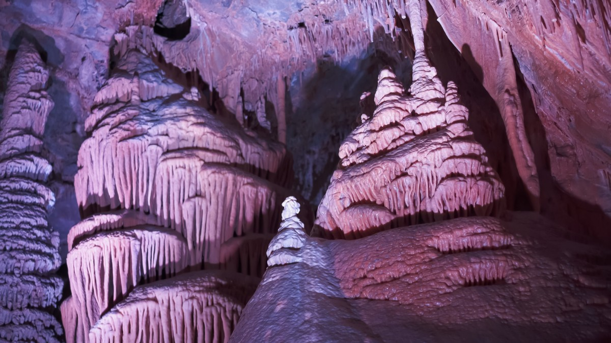 purple cave formations in Lewis and Clark Caverns Montana