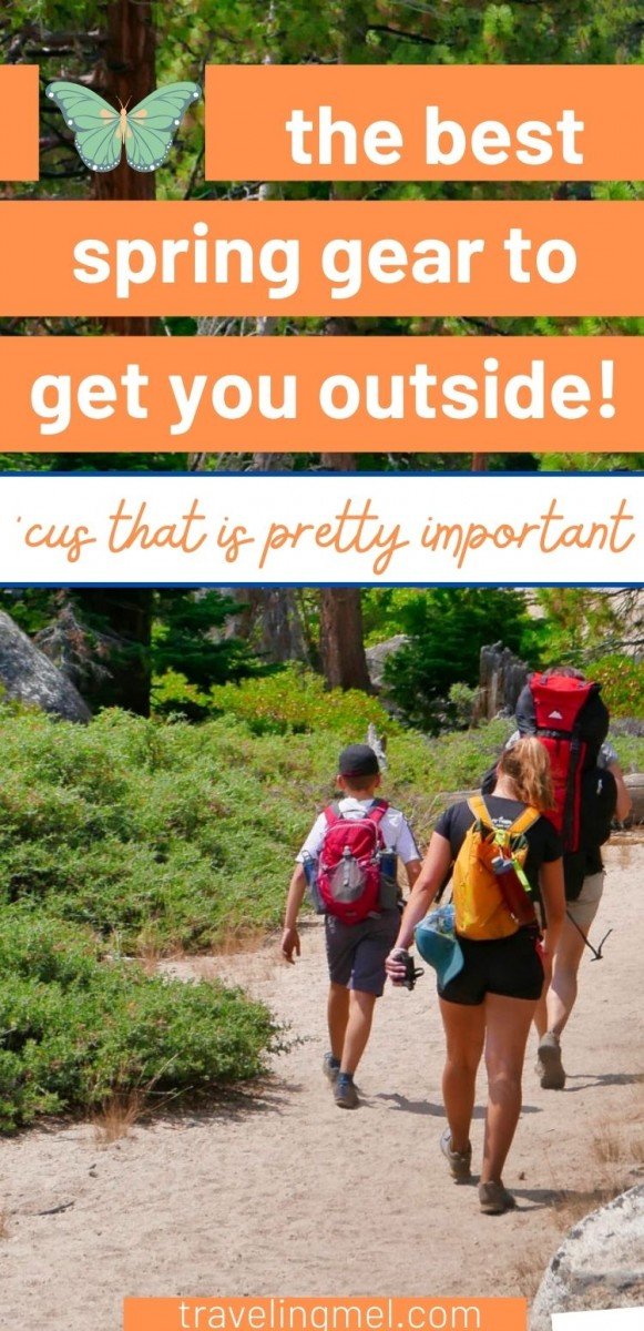 """People hiking and text """"best spring gear to get you outside"""""""