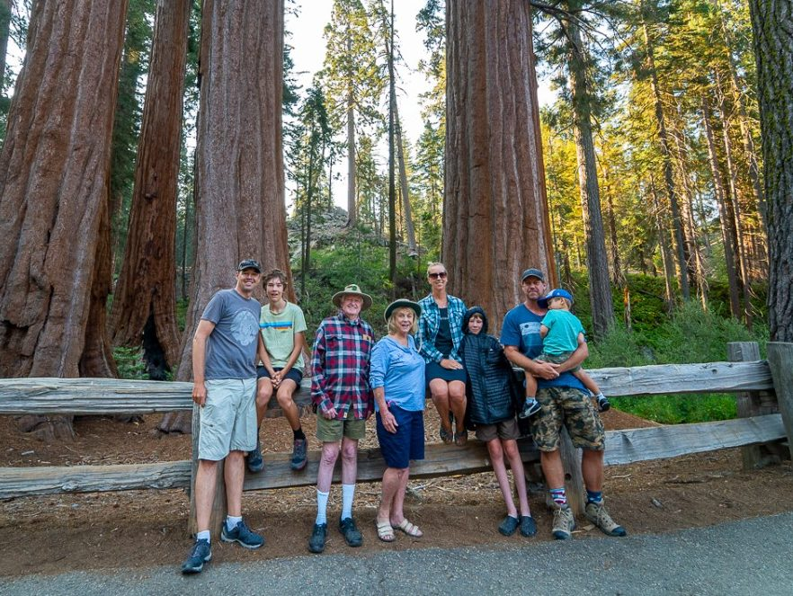 family photo in Kings Canyon National Park
