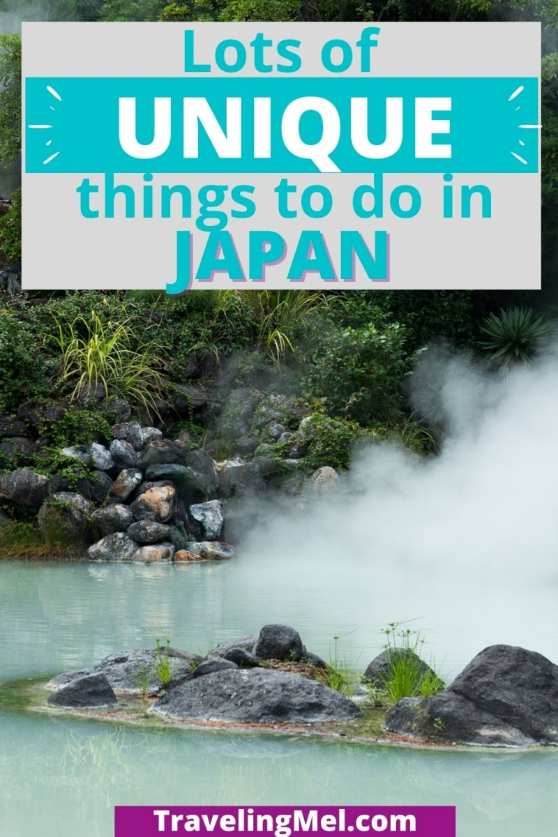 """photo of hot spring with text """"12 Unique Things to Do in Japan"""""""
