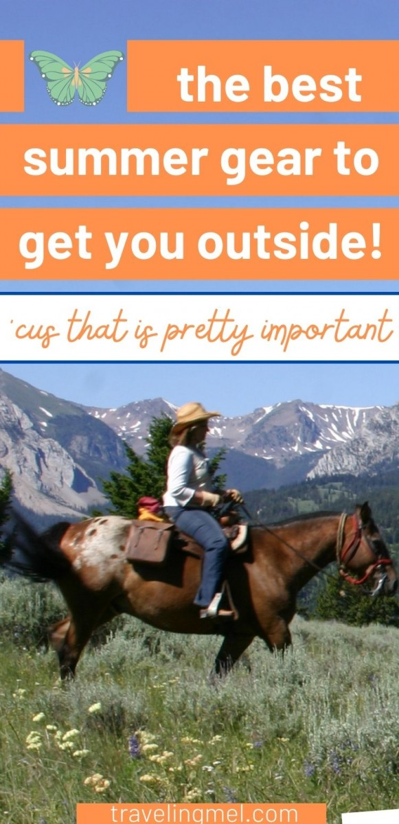 """horseback riding with text """"the best summer gear to get you outside"""""""