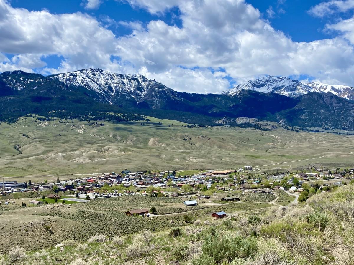 aerial view of Gardiner Montana