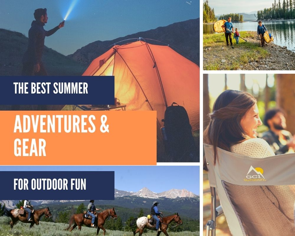 """outdoor photo collage with text """"the best summer adventures and gear for outdoor fun"""