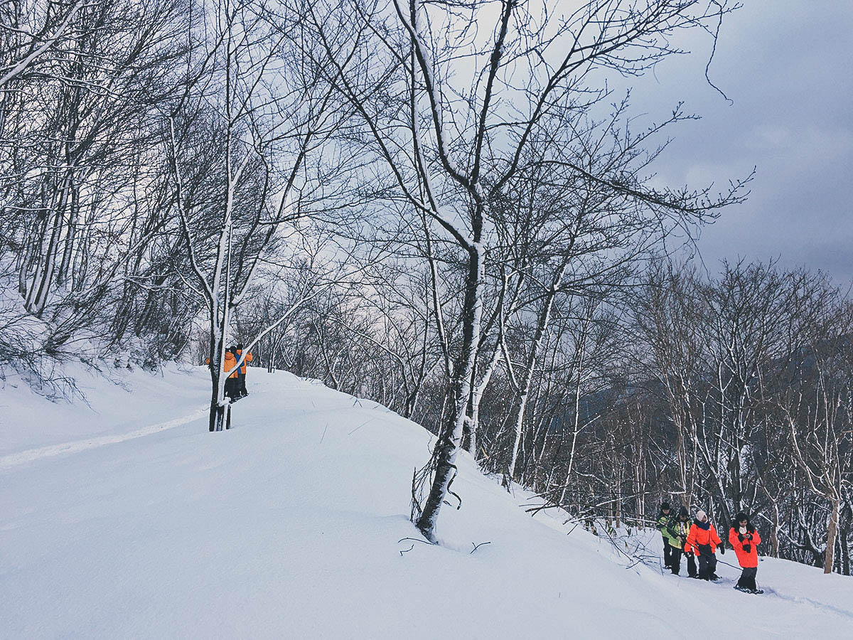 one of the coolest things in Japan is snowshoeing up a volcano
