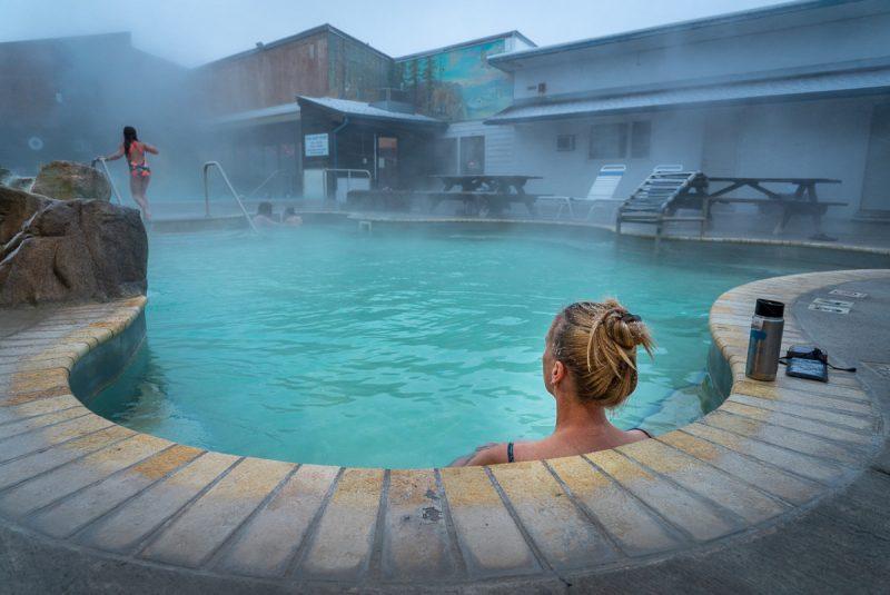 Woman in Hot Springs in White Sulphur Springs Montana