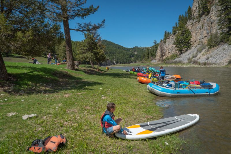 Rafts and paddle board on Smith River