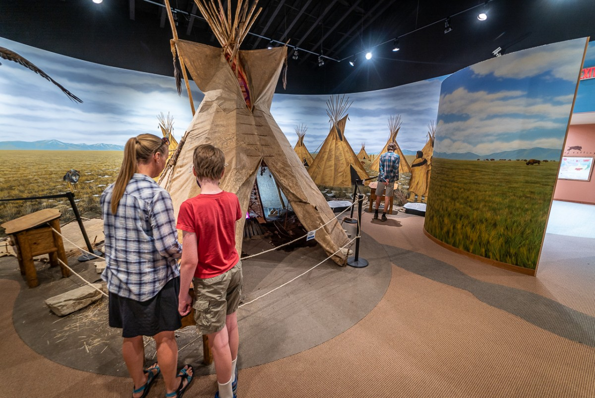 tipi in the visitor center at First Peoples Buffalo Jump State Park Montana