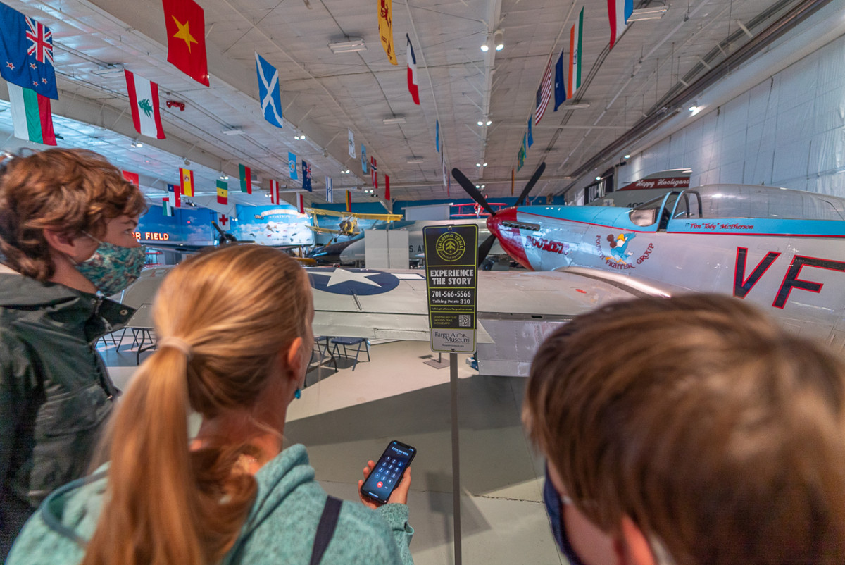 Looking at airplanes at Fargo Air Museum